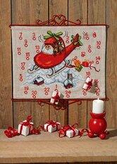 Christmas calendar Santa claus in helicopter. Permin 34-0217.