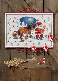Christmas calendar with elf and horse. Permin 34-5223.