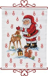 Christmas calendar santa claus with deer. Permin 34-9590.