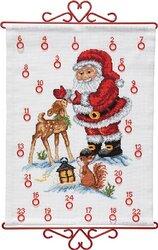 Christmas calendar santa claus with deer. Permin 34-9590.