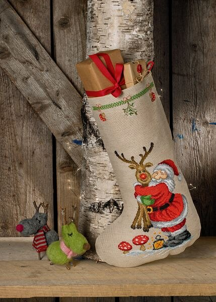 Christmas stocking Santa Claus with Rudolph