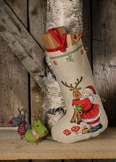 Christmas stocking Santa Claus with Rudolph. Permin 41-0231.
