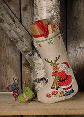 Christmas stocking Santa Claus with Rudolph. Permin 41-0231.