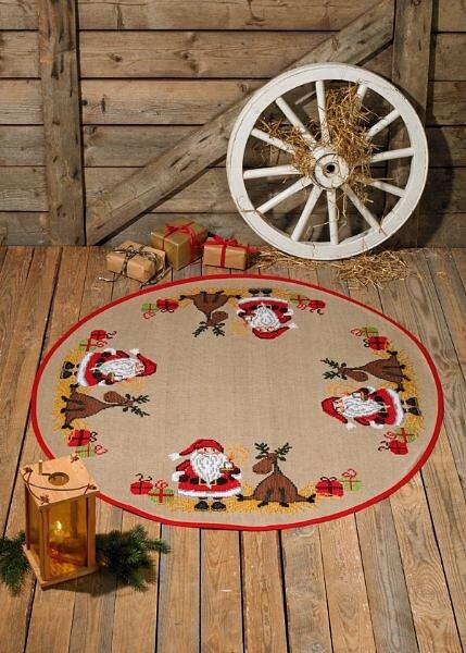 Christmas tree skirt Santa Claus and moose