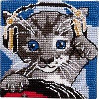 Cat with headphones. Permin 9284.