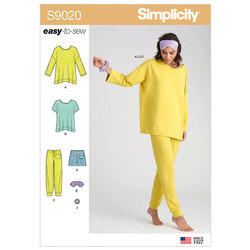 Sleepwear Knit Tops, Pants, Shorts and Accessories. Simplicity 9020.