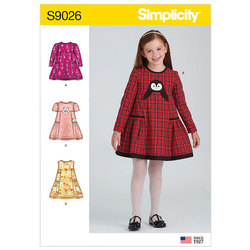 Children´s Animal Applique Pocket Dress. Simplicity 9026.