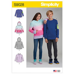 Girls´ and Boys´ Knot Tops with Hoodie. Simplicity 9028.