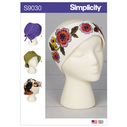 Hats and Headband in Three Sizes. Simplicity 9030.