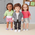 """Clothes for 18"""" dolls. Stretch-knit for tops and woven fabrics for shorts and pants. Novelty sequin fabric for skirt."""