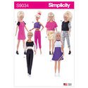 Clothes for 11.5 inch dolls. Fashionable pants, tops, skirts and dresses. Designed and sized for stretch knits.