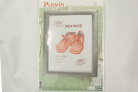 Birth embroidery shoes girl 17x22cm
