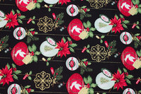 Black patchwork-cotton with christmas-balls