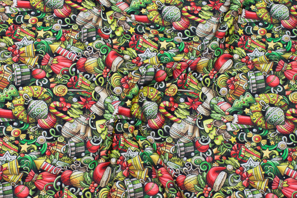 Cotton-jersey with small christmas images