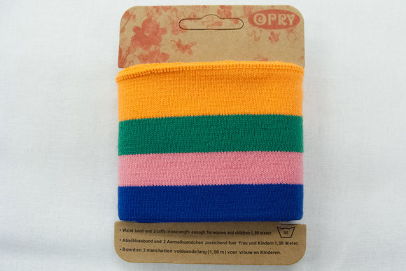 Cuff blue, pink, green and orange