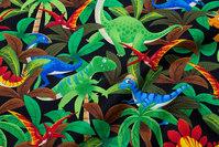 Cute tropical animals on black base