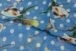 Light blue chiffon with dots and kala flowers