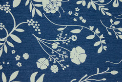 Light stretch-denim with light flowers