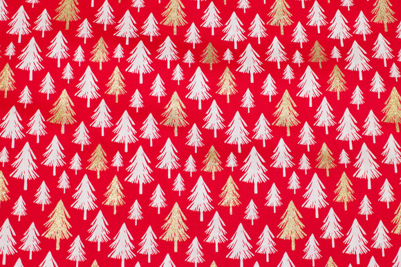 Red christmas-cotton with trees in white and gold