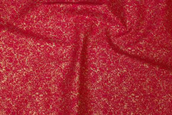 Red cotton with gold-dust-print