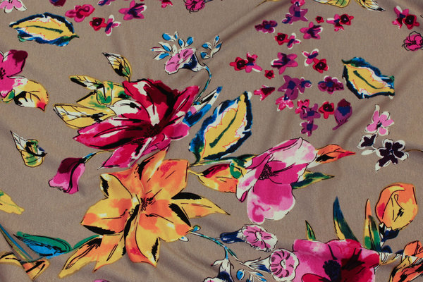 Sand-colored viscose-jersey with pink and yellow flowers