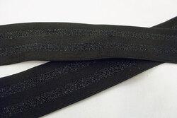 Elastic black/black stripes 4 cm