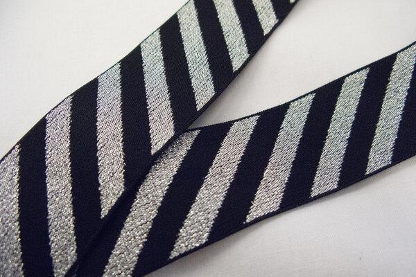 Elastic black/silver diagonals 4 cm