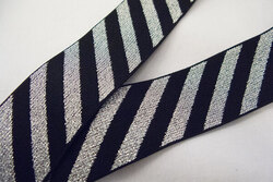 Elastic black/silver diagonals 4 cm