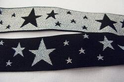 Elastic black/silver stars 4 cm