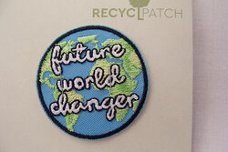Recycled future-world-changer patch 4 cm diam