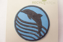 Recycled dolphin patch 6 cm diam
