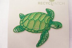 Recycled turtle patch 6 x 3 cm