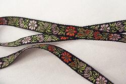 Woven flower ribbon black 1cm