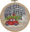Christmas wall embroidery with red Fiat car.