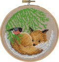 Christmas wall embroidery with fox and bird.