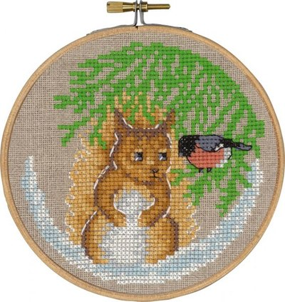 Christmas wall embroidery with squirrel and bird