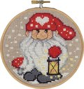 Christmas wall embroidery with santa with lamp.