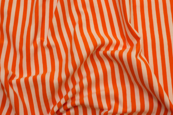 Across-striped, gennemfarvet cotton-jersey in orange and white