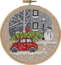 Christmas wall embroidery with red Fiat car