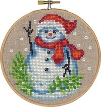 Christmas wall embroidery with snowman