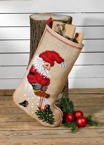 Christmas stocking Elf and tree