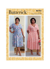 Dress with waist bias and buttons. Butterick 6763.