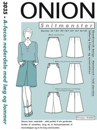 A-shape skirts with pleats and pockets. Onion 3035.