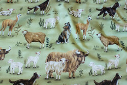 Apple-green cotton-jersey with sheep mm.