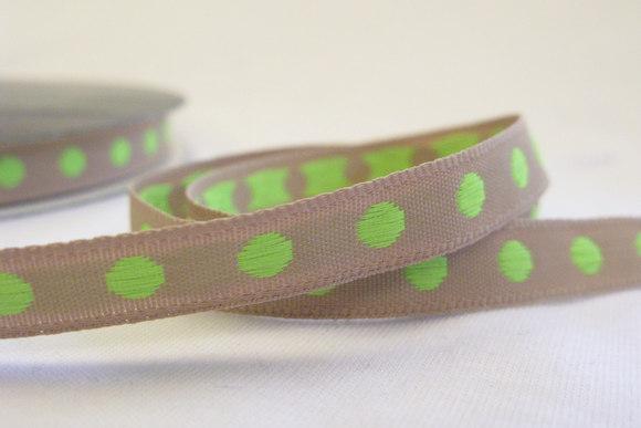 Beigeandlime dots ribbon 1cm