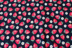 Black cotton-jersey with ca. 2-3 cm strawberries