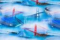 Blue-turqoise cotton-jersey with beautiful bridges