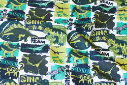 Cotton-jersey with dinosaurs in green nuances