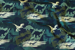 Cotton-jersey with dinosaurs in junglefarver