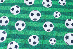 Cotton-jersey with grass and soccer balls